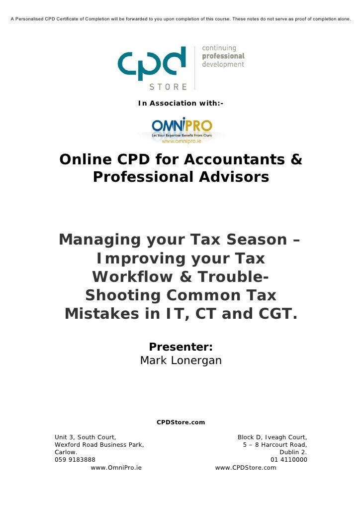 Managing your tax season