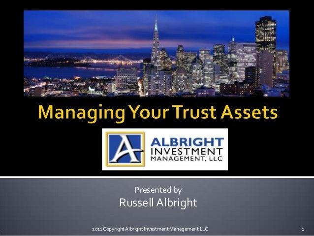 Presented byRussell Albright2011 CopyrightAlbright Investment Management LLC 1