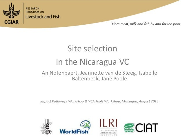 Site selection in the Nicaragua VC An Notenbaert, Jeannette van de Steeg, Isabelle Baltenbeck, Jane Poole Impact Pathways ...