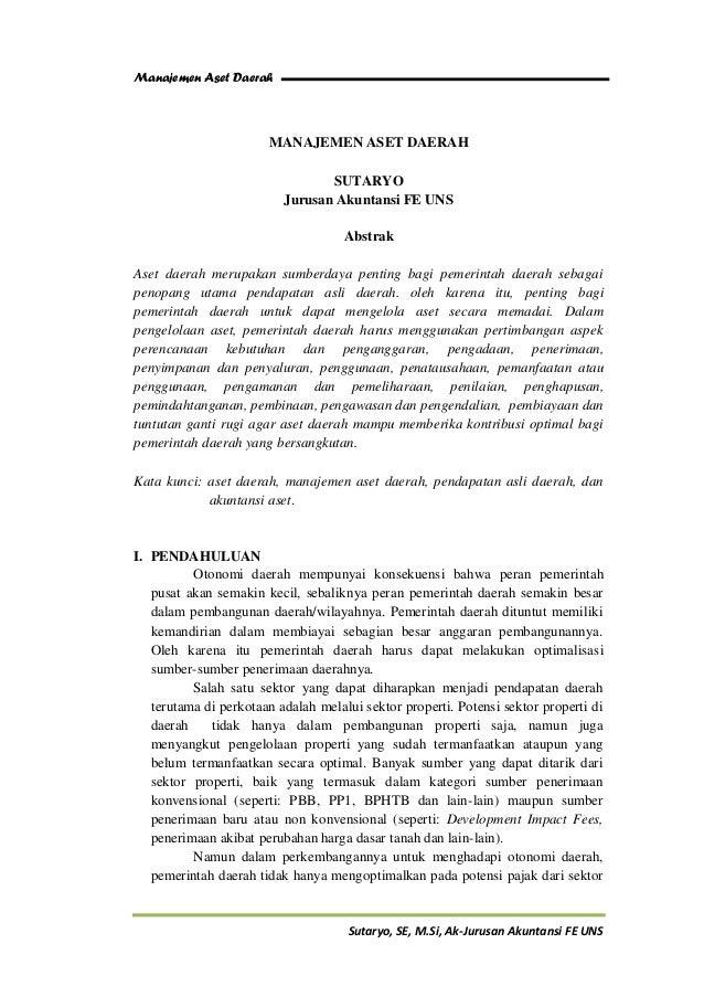 Manajemen Aset Daerah                       MANAJEMEN ASET DAERAH                                 SUTARYO                 ...