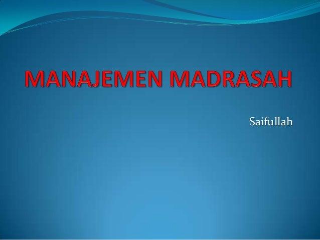 Manajemen madrasah