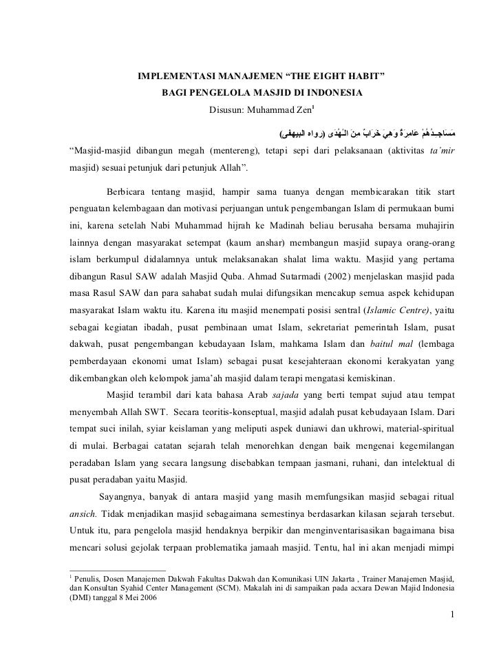 Manajemen masjid 8 habit