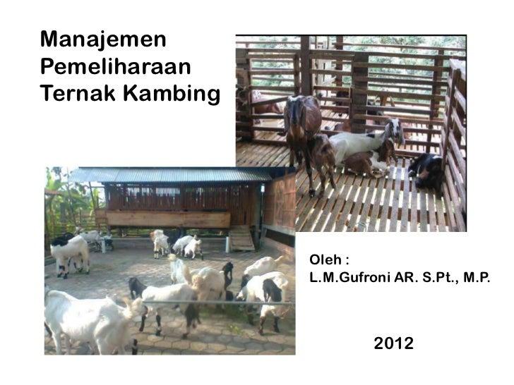 ManajemenPemeliharaanTernak Kambing                 Oleh :                 L.M.Gufroni AR. S.Pt., M.P.                    ...