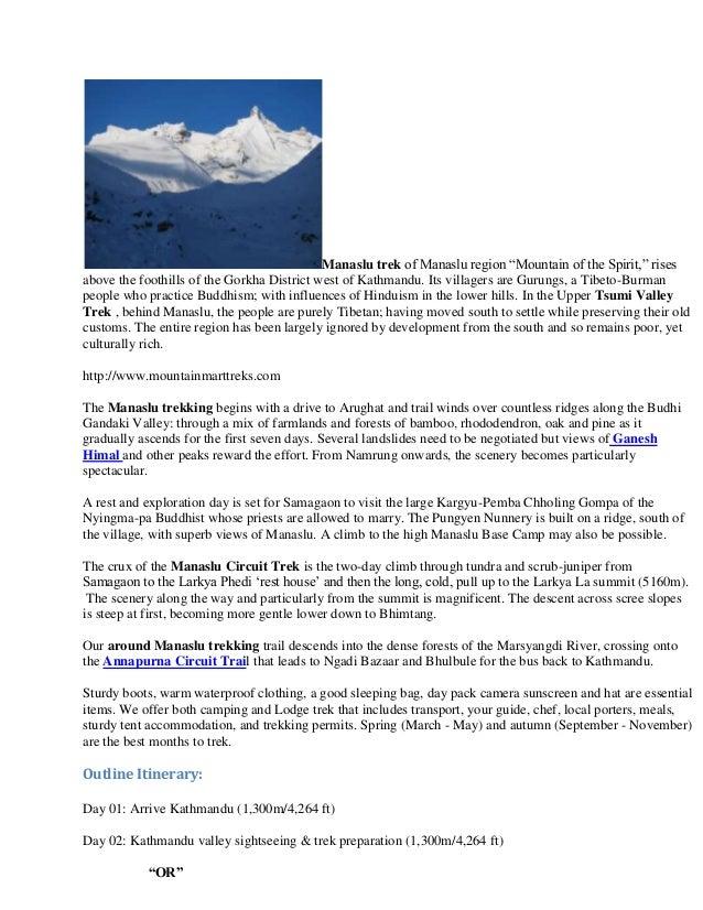 "Manaslu trek of Manaslu region ""Mountain of the Spirit,"" risesabove the foothills of the Gorkha District west of Kathmandu..."