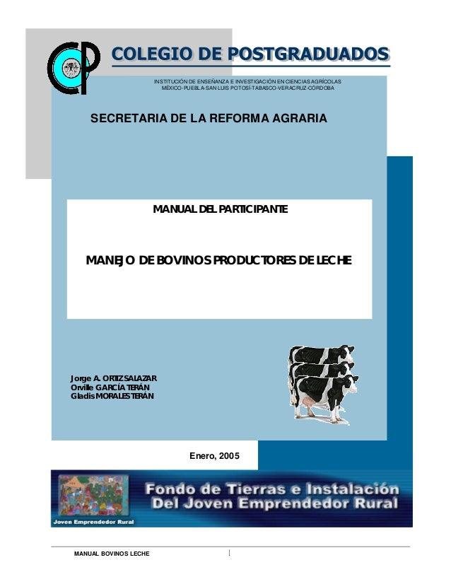 MANUAL BOVINOS LECHE I MANUAL DEL PARTICIPANTE MANEJO DE BOVINOS PRODUCTORES DE LECHE Enero, 2005 INSTITUCIÓN DE ENSEÑANZA...