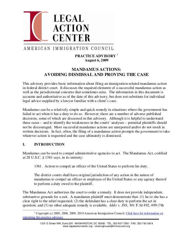 PRACTICE ADVISORY 1                                            August 6, 2009                          MANDAMUS ACTIONS:  ...