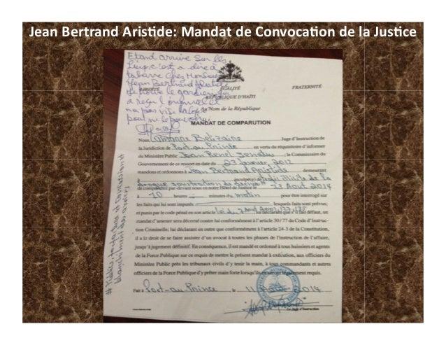Jean  Bertrand  Aris-de:  Mandat  de  Convoca-on  de  la  Jus-ce