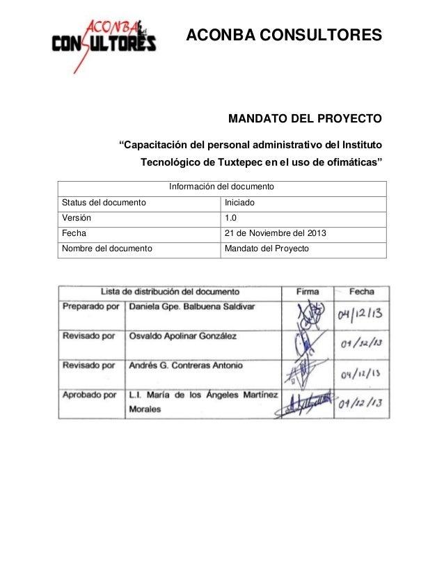 """ACONBA CONSULTORES  MANDATO DEL PROYECTO """"Capacitación del personal administrativo del Instituto Tecnológico de Tuxtepec e..."""