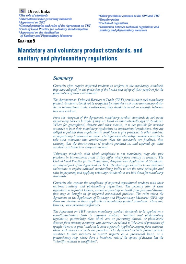 Mandatory and voluntary product standard