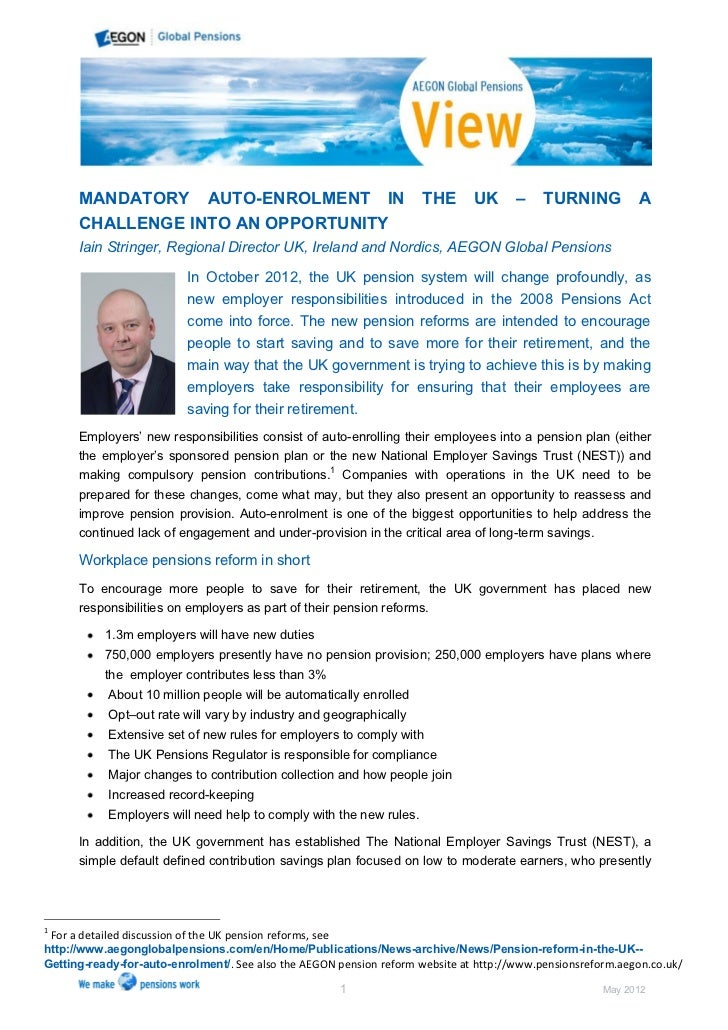 Mandatory Auto Enrolment in the UK - Turning a Challenge into an Opportunity