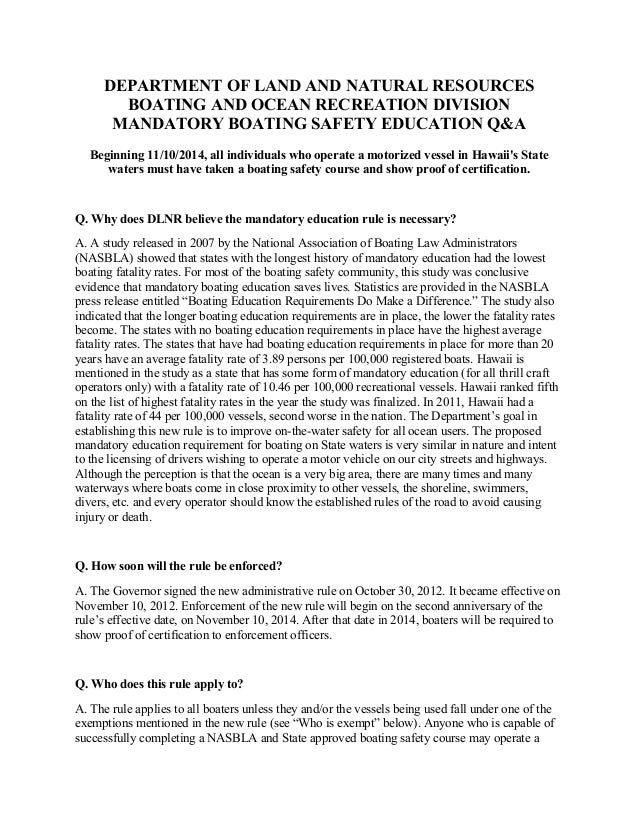 DEPARTMENT OF LAND AND NATURAL RESOURCESBOATING AND OCEAN RECREATION DIVISIONMANDATORY BOATING SAFETY EDUCATION Q&ABeginni...