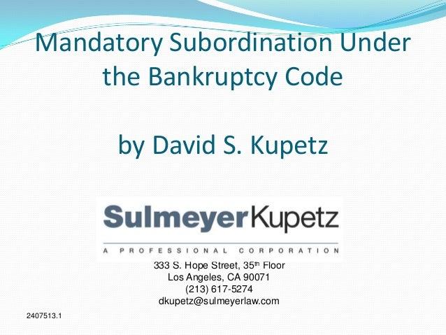 Mandatory subordination under the bankruptcy code