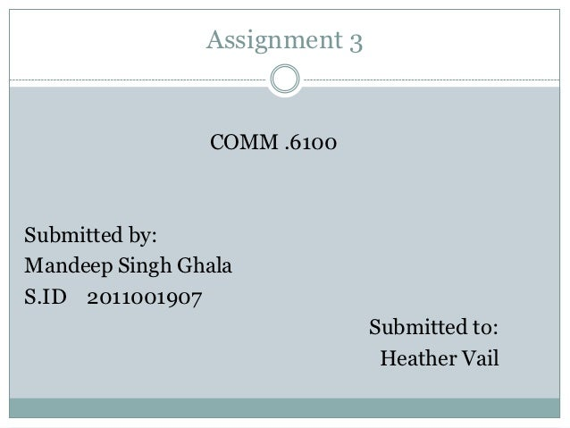 Assignment 3                COMM .6100Submitted by:Mandeep Singh GhalaS.ID 2011001907                               Submit...