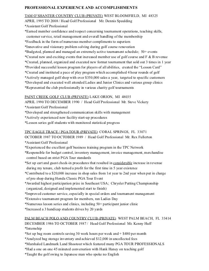 Golf professional resume example
