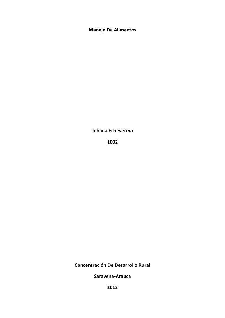 Manejo De Alimentos       Johana Echeverrya              1002Concentración De Desarrollo Rural        Saravena-Arauca     ...