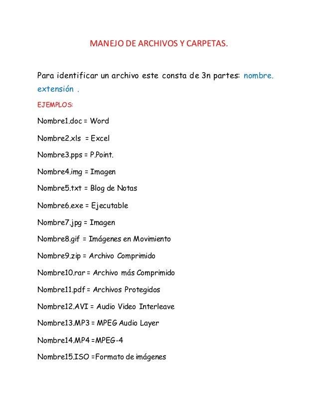 MANEJO DE ARCHIVOS Y CARPETAS.  Para identificar un archivo este consta de 3n partes: nombre.  extensión .  EJEMPLOS:  Nom...