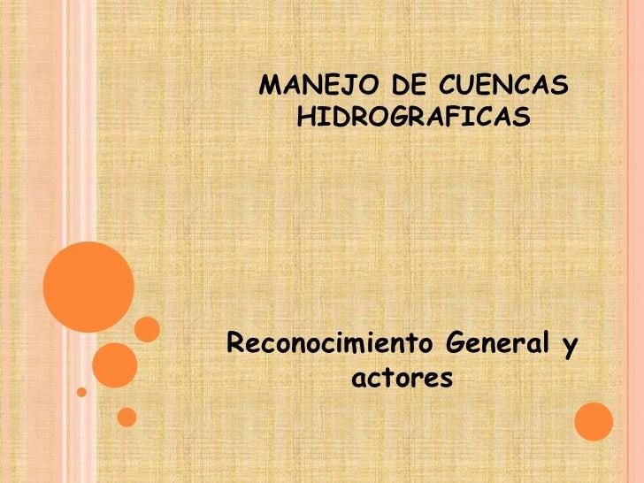 MANEJO DE CUENCAS    HIDROGRAFICASReconocimiento General y        actores