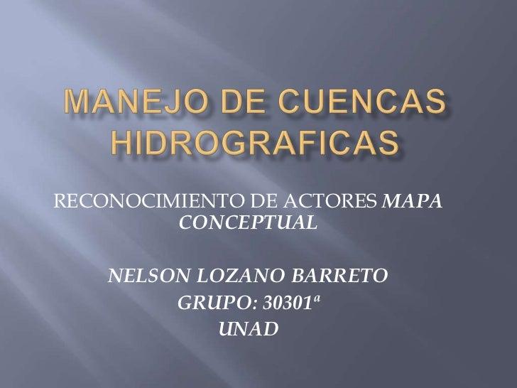 RECONOCIMIENTO DE ACTORES MAPA         CONCEPTUAL    NELSON LOZANO BARRETO         GRUPO: 30301ª             UNAD