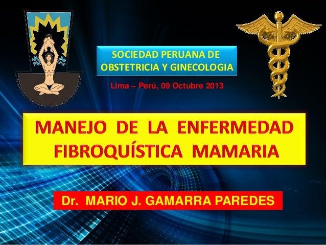 SOCIEDAD PERUANA DE OBSTETRICIA Y GINECOLOGIA Dr. MARIO J. GAMARRA PAREDES Lima – Perú, 09 Octubre 2013