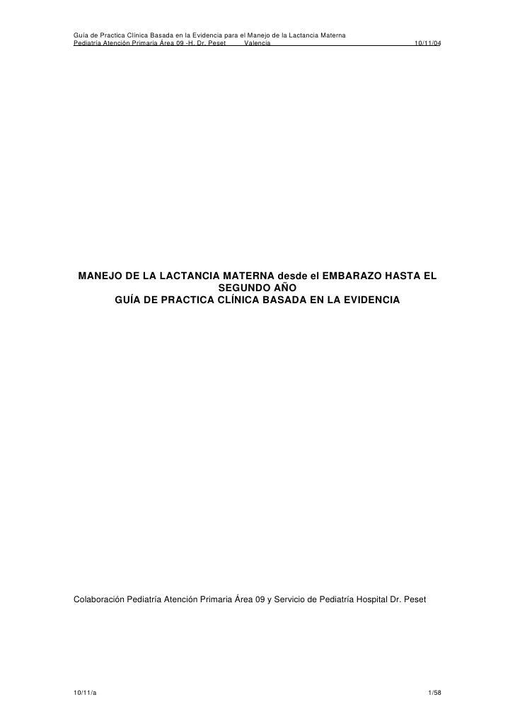 Guía de Practica Clínica Basada en la Evidencia para el Manejo de la Lactancia Materna Pediatría Atención Primaria Área 09...