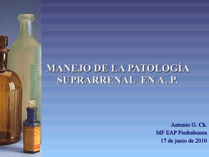 MANEJO DE LA PATOLOGÍA SUPRARRENAL  EN A. P. Antonio G. Ch. MF EAP Piedrabuena 17 de junio de 2010
