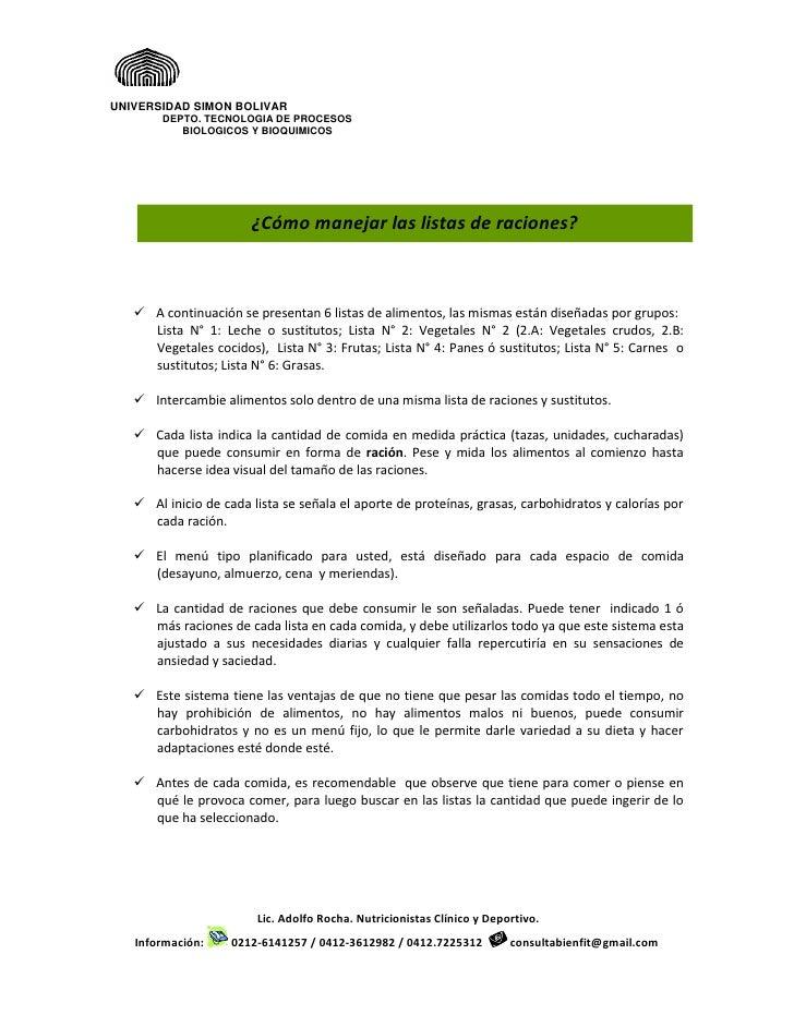 Instructivo para el manejo de las listas de alimentos 2012