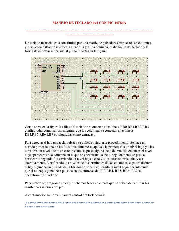 Manejo de teclado 4x4 con pic 16 f84a