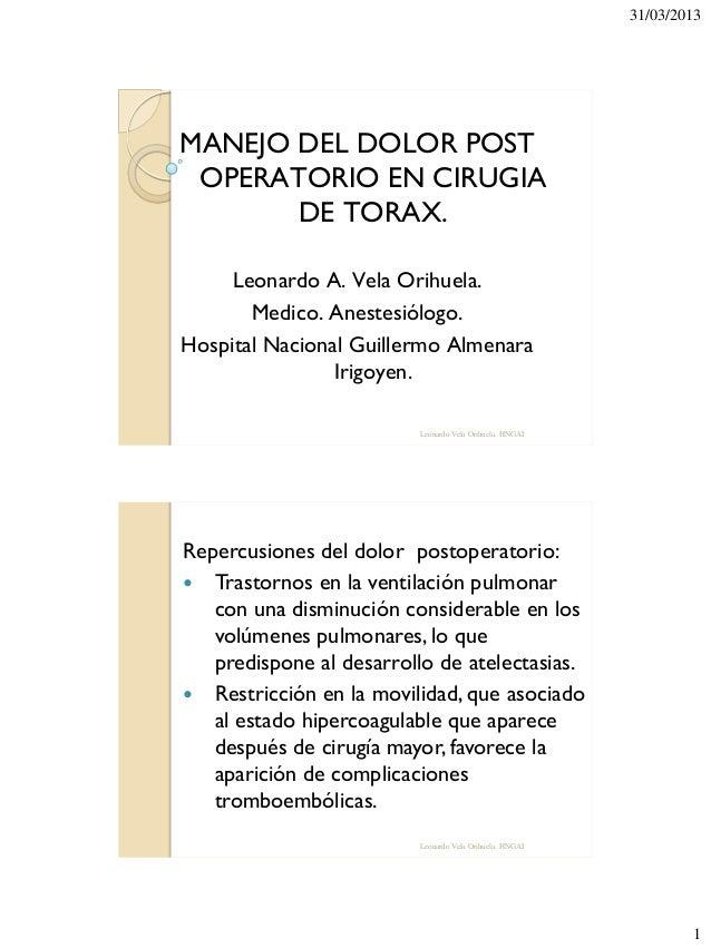 Manejo dolor postoperatorio cirugia torax Hospital Nacional Guillermo Almenara Irigoyen