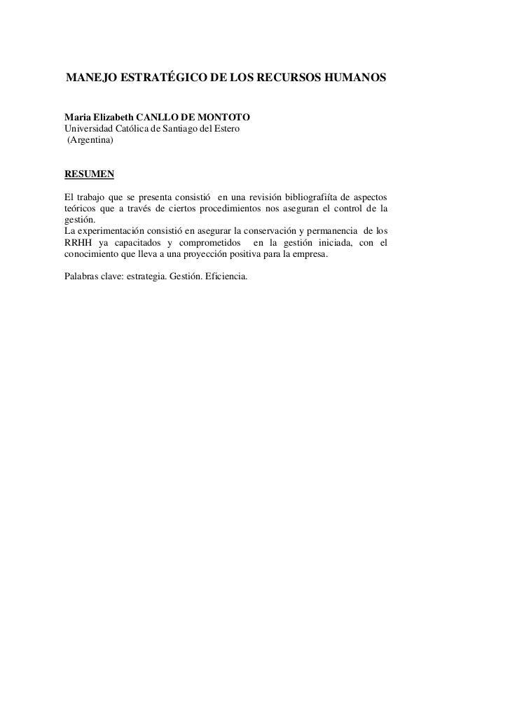 MANEJO ESTRATÉGICO DE LOS RECURSOS HUMANOSMaria Elizabeth CANLLO DE MONTOTOUniversidad Católica de Santiago del Estero(Arg...