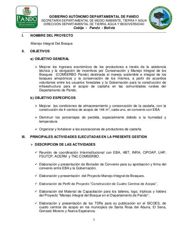 GOBIERNO AUTÓNOMO DEPARTAMENTAL DE PANDO SECRETARÍA DEPARTAMENTAL DE MEDIO AMBIENTE, TIERRA Y AGUA DIRECCIÓN DEPARTAMENTAL...