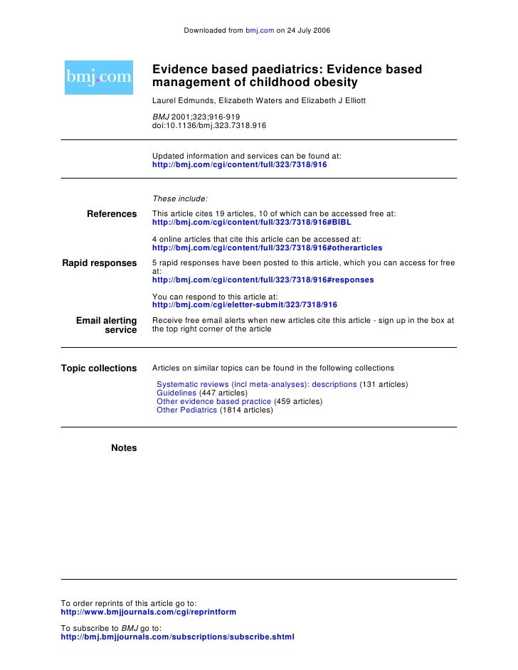 Downloaded from bmj.com on 24 July 2006                          Evidence based paediatrics: Evidence based               ...