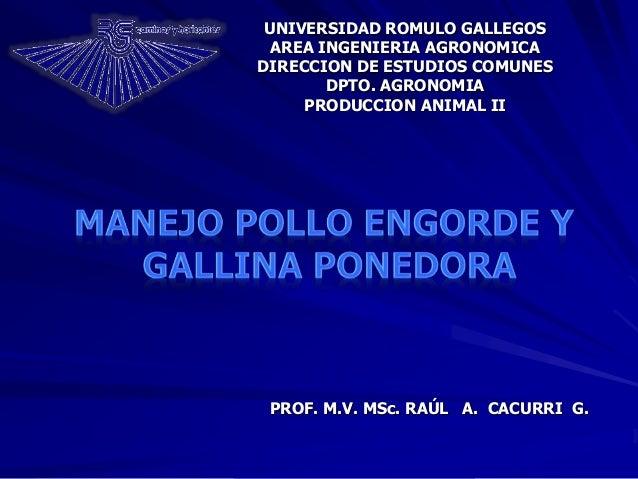 PROF. M.V. MSc. RAÚL A. CACURRI G. UNIVERSIDAD ROMULO GALLEGOS AREA INGENIERIA AGRONOMICA DIRECCION DE ESTUDIOS COMUNES DP...