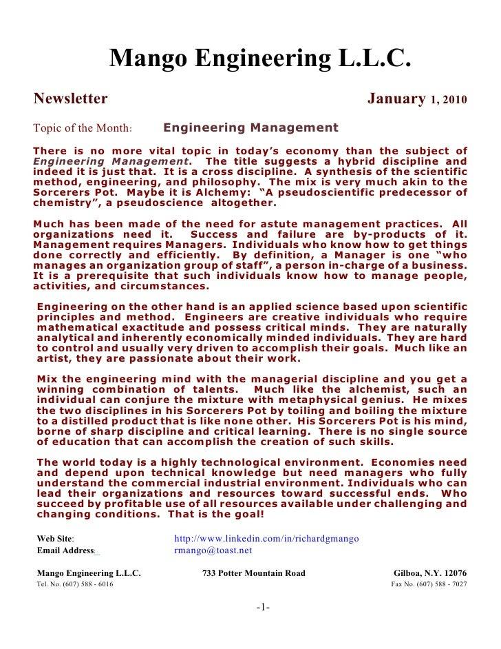 Mango Engineering Newsletter January 1, 2010