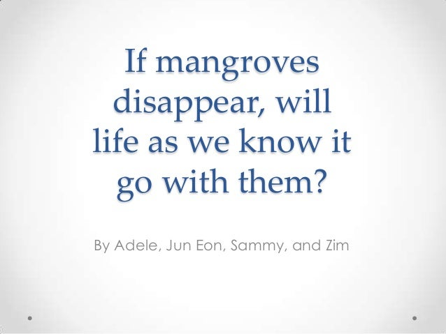 If mangroves  disappear, willlife as we know it  go with them?By Adele, Jun Eon, Sammy, and Zim
