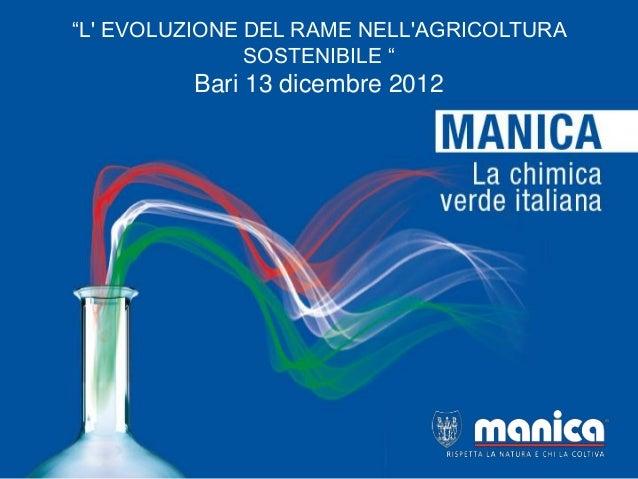 """""""L EVOLUZIONE DEL RAME NELLAGRICOLTURA               SOSTENIBILE """"         Bari 13 dicembre 2012"""