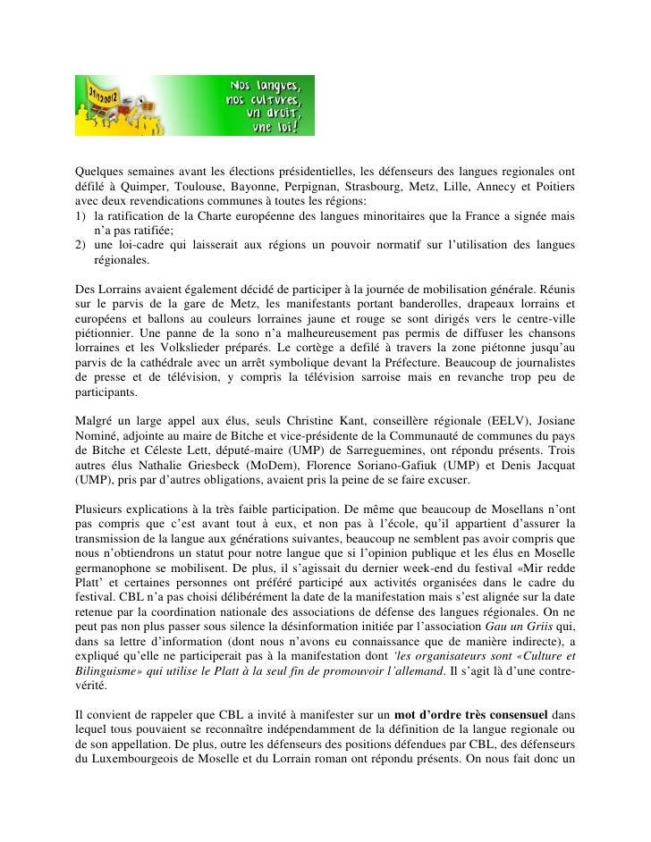 Quelques semaines avant les élections présidentielles, les défenseurs des langues regionales ontdéfilé à Quimper, Toulouse...