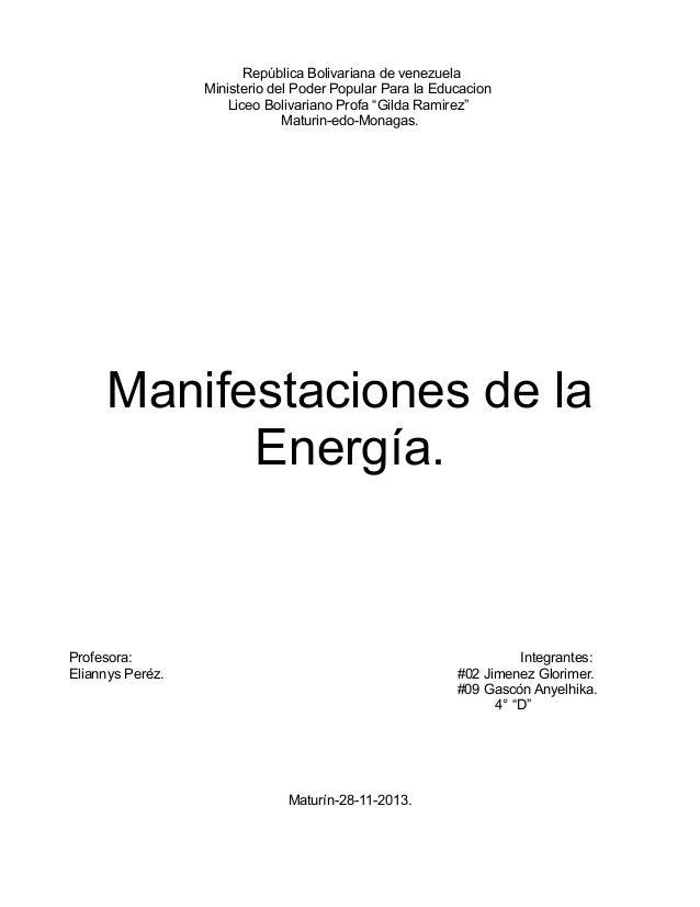 Manifestaciones de la energia