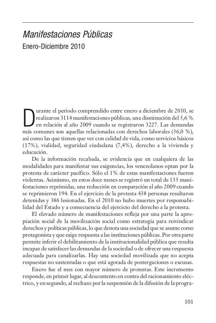 Manifestaciones PúblicasEnero-Diciembre 2010       urante el período comprendido entre enero a diciembre de 2010, seD     ...