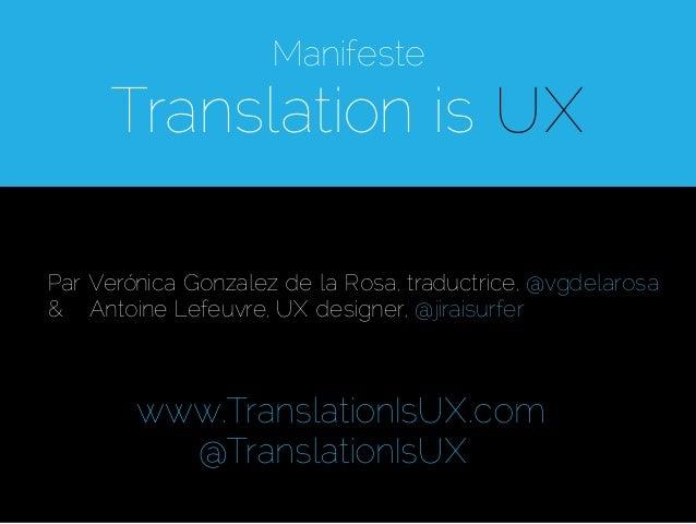 Manifeste 'Translation is UX'