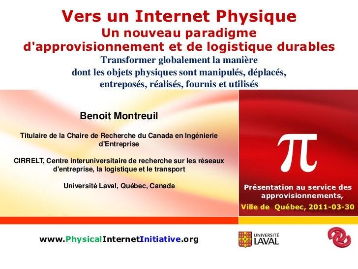 Vers un Internet Physique              Un nouveau paradigme  dapprovisionnement et de logistique durables                 ...