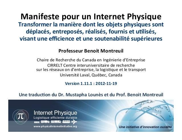 Manifeste pour un Internet Physique Transformer la manière dont les objets physiques sont    dép...