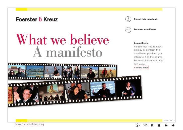 Foerster & Kreuz | Manifesto: What we believe