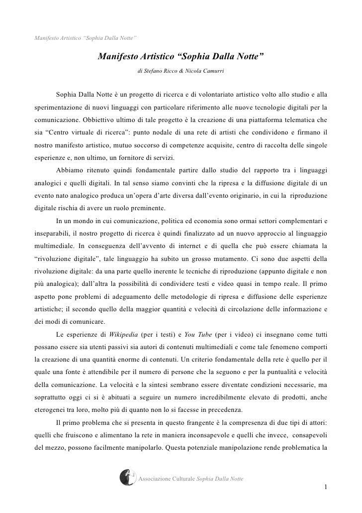 Manifesto Artistico Sophia Dalla Notte