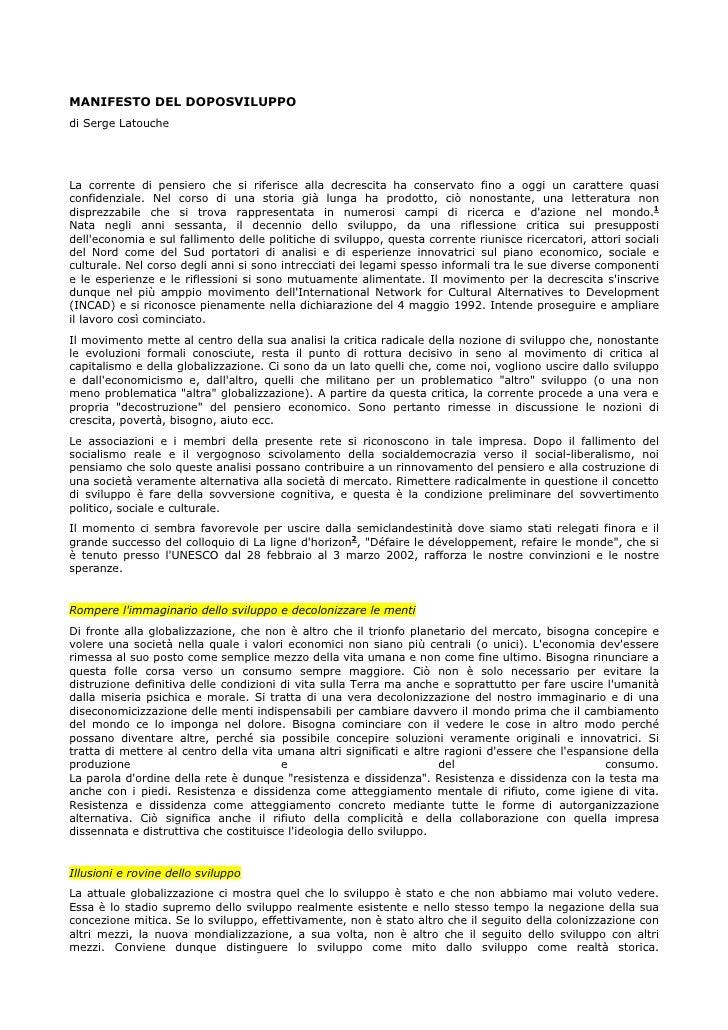 Manifesto del doposviluppo Serge Latouche