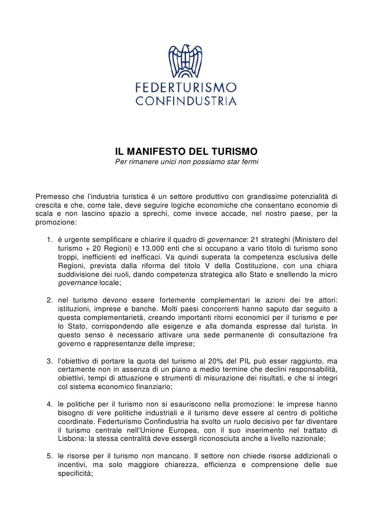 Manifesto del turismo