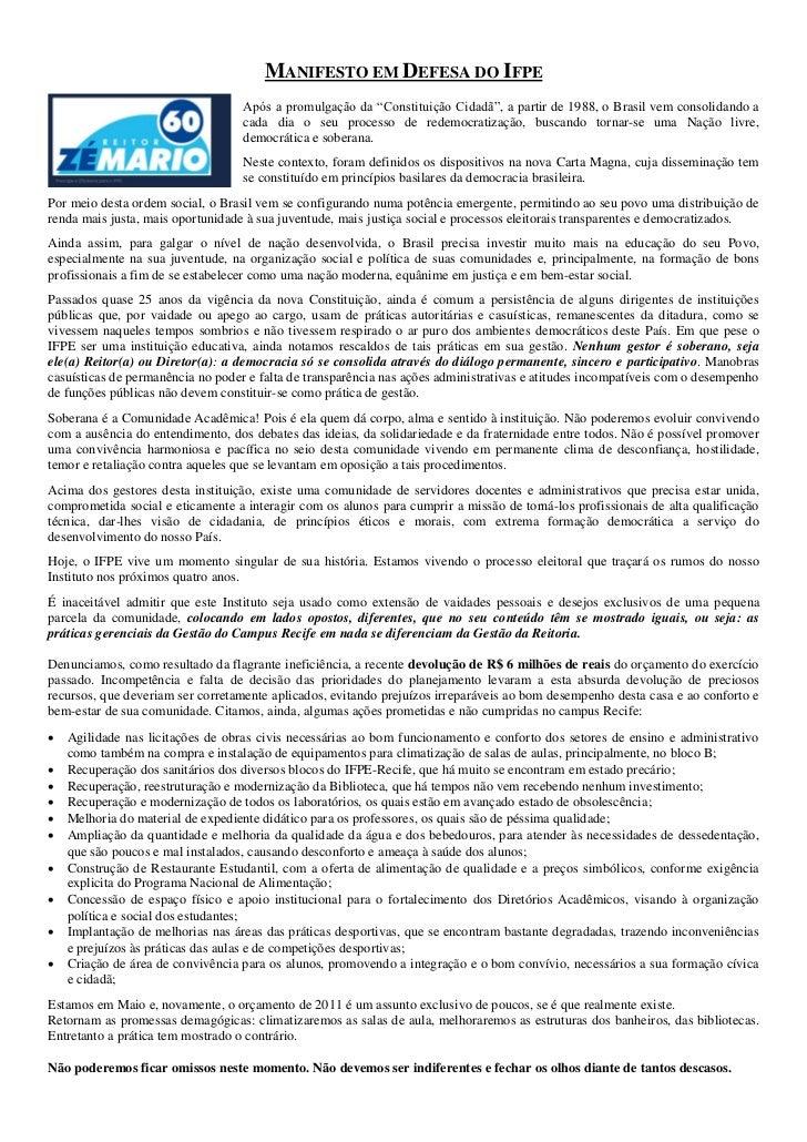 """MANIFESTO EM DEFESA DO IFPE                                   Após a promulgação da """"Constituição Cidadã"""", a partir de 198..."""
