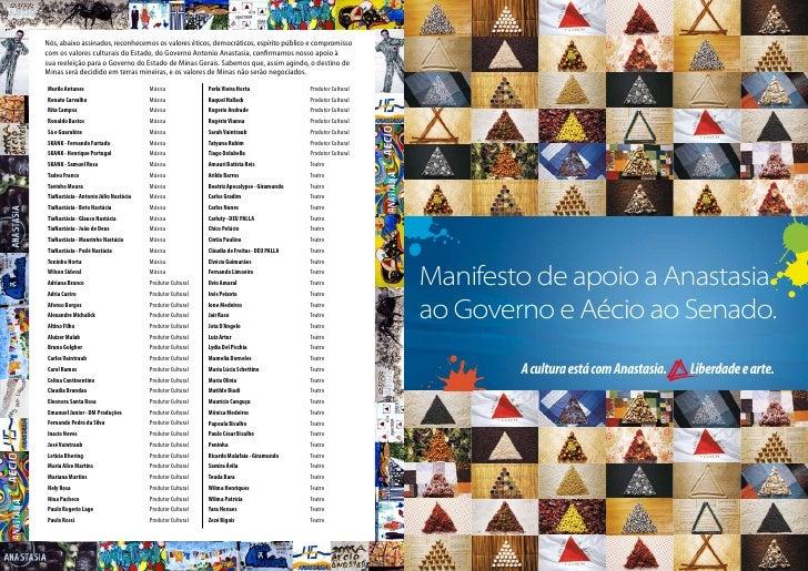 """Manifesto """"Cultura está com Anastasia – Liberdade e Arte"""""""