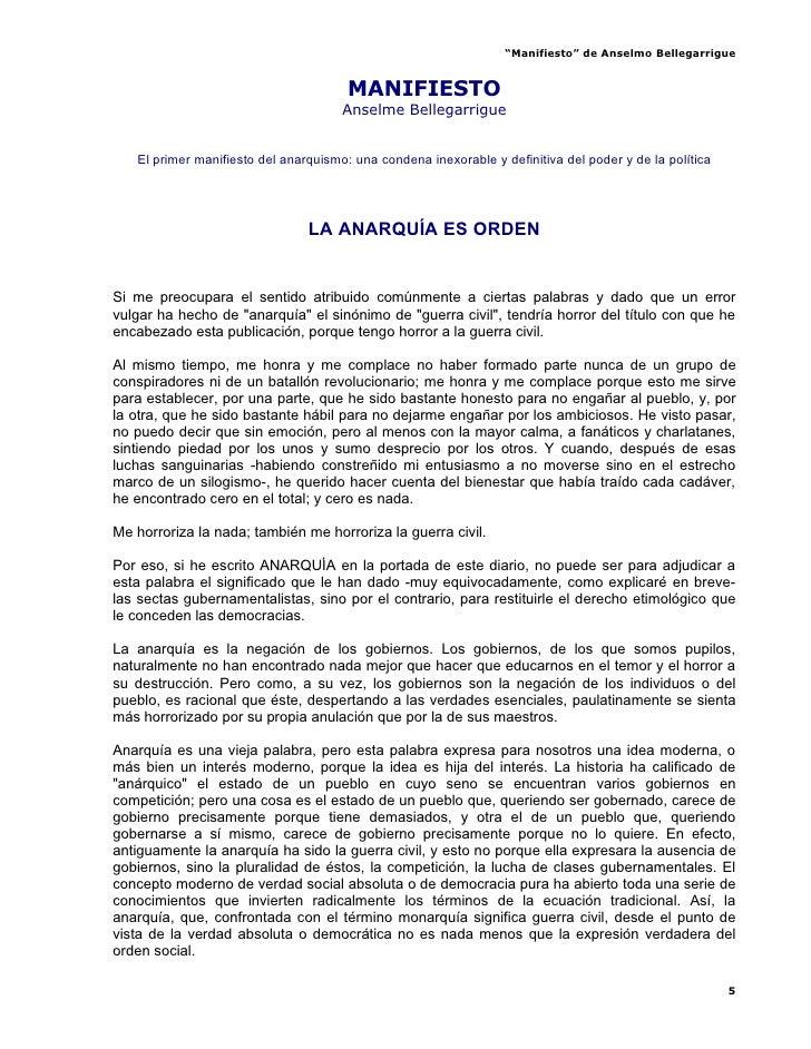 """Manifiesto"" de Anselmo Bellegarrigue                                          MANIFIESTO                                 ..."