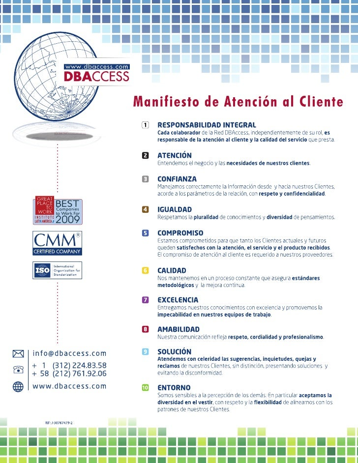Manifiesto Atención al Cliente DBAccess