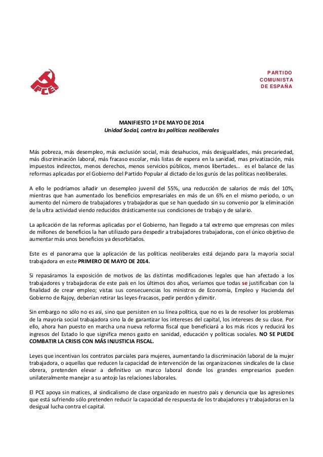 Manifiesto PCA 1º de mayo de 2014